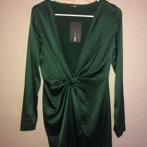 emerald green satin dress